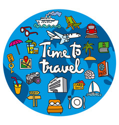 travel concept icon with lettering vector image vector image