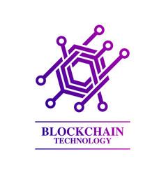 blockchain technology logo template concept vector image vector image