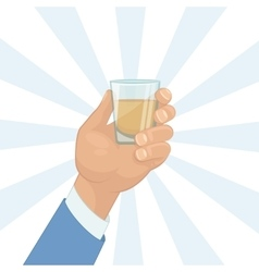 Hand holding a shot of drink vector image