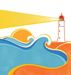 Lighthouse and sea waves Abstract seascape on vector image