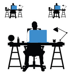 man silhouette set with laptop and desk vector image vector image