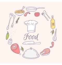 Round card with doodle food icons Hand drawn vector image vector image