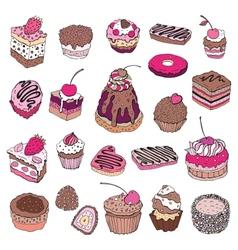 Set of cute cake vector image