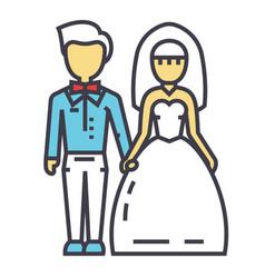 Wedding couple bride and groom marriage just vector