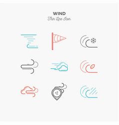 wind hurricane tornado and more thin line color vector image vector image