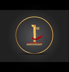 1 anniversary design golden color with ring vector