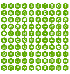 100 graphic elements icons hexagon green vector