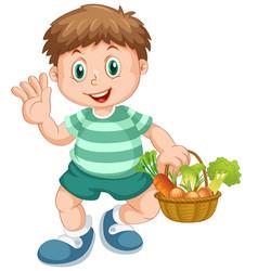 A boy holding vegetable basket vector