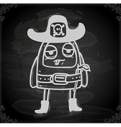Alien in Sheriffs Costume Drawing on Chalk Board vector image