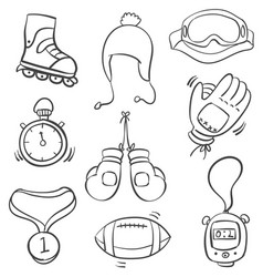 art sport equipment doodle style vector image