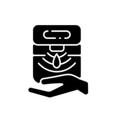 Automatic hand sanitizer dispenser black glyph vector