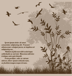 beautiful nature landscape with flying birds vector image