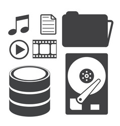 Big data icons set data storage and database vector