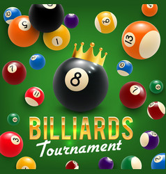 Billiard balls and crown tournament 3d vector