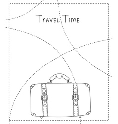 Black and white hand drawn suitcase banner vector