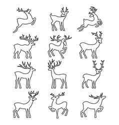 Black outlined deer silhouettes set vector