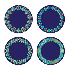 blue gold moroccan circle frames vector image