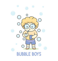 boy with glasses playing bubble balloon vector image