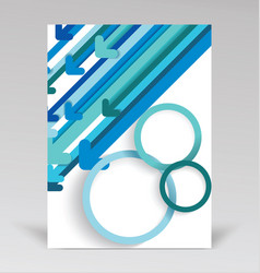 brochure cover with blue paper arrows abstract vector image