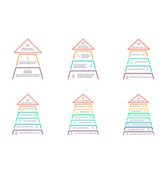 Business infographics pyramids arrows with 3 4 vector