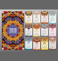Calendar 2019 round ornament pattern vintage vector