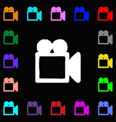 camcorder icon sign Lots of colorful symbols for vector image