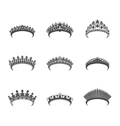 Cartoon silhouette black tiara set vector
