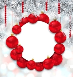 Christmas and Happy New Year Card with Red Balls vector