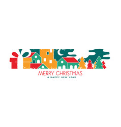 christmas and new year banner holiday landscape vector image