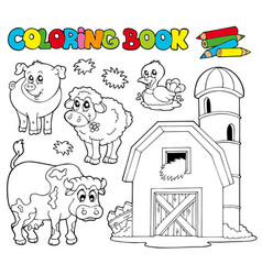 Coloring book with farm animals 1 vector
