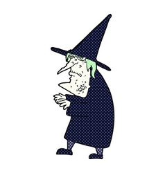Comic cartoon ugly old witch vector