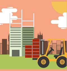 construction forklift building bricks vector image