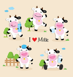 Cow cute character cartoon design vector