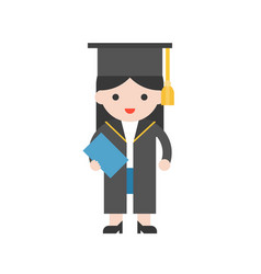 cute character graduate student and diploma in vector image