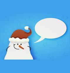 cute shy snowman with hidden hands vector image