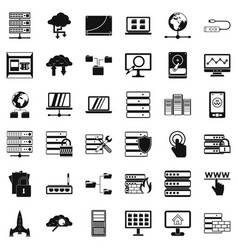 data file icons set simple style vector image