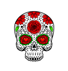 day of the dead skull sugar flower tattoo vector image