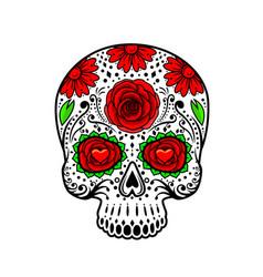 Day of the dead skull sugar flower tattoo vector