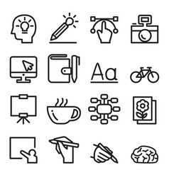 designer line icon set vector image