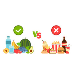 diet choice choose foods beneficial to body vector image