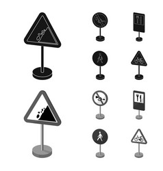 Different types of road signs blackmonochrom vector