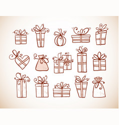 doodle sketch gift boxes in vintage style vector image