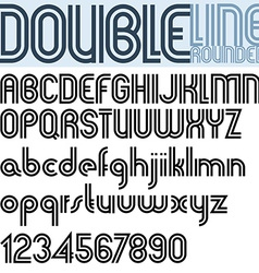 Double Line retro style geometric font vector image