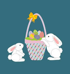 Easter Basket with eggs and rabbit vector image vector image