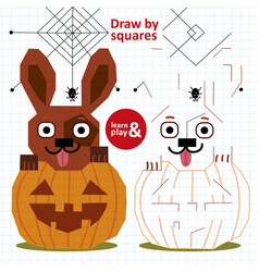 Educational game for children draw halloween by vector