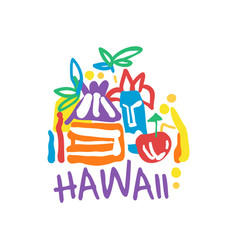 Exotic summer vacation logo of hawaii beach vector