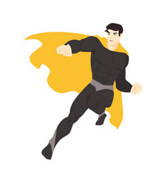 Fantastic superhero flying man with muscular body vector