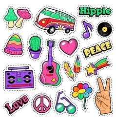 Fashion Hippie Badges Patches Stickers vector