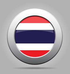 Flag of thailand metal gray round button vector