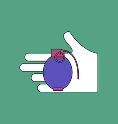 Flat icon design collection frag grenade in hand vector